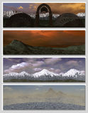 Four different fantasy landscapes for banner,. Background or illustration. with clouds, mountains and sunset Stock Photography