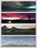 Four different fantasy landscapes for banner, stock illustration