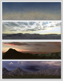 Four different fantasy landscapes for banner,. Background or illustration. with clouds, mountains and sunset Royalty Free Stock Images