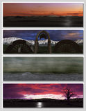 Four different fantasy landscapes for banner,. Background or illustration. with clouds, mountains and sunset Royalty Free Stock Photo