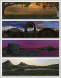 Four different fantasy landscapes for banner,. Background or illustration. 3D rendering Royalty Free Stock Photo