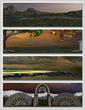 Four different fantasy landscapes for banner, Stock Image