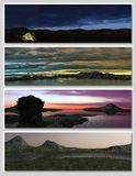 Four different fantasy landscapes for banner, Royalty Free Stock Image