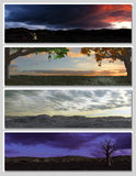Four different fantasy landscapes for banner,. Background or illustration. 3D rendering with clouds, mountains and sunset Stock Photos