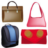 Four different fashionable purse, backpack, bag Royalty Free Stock Photos