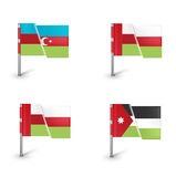 Four different flags isolated on white Royalty Free Stock Photo