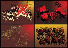 Four different fruits and leaves decorations Royalty Free Stock Photography