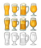 Four different glasses for beer. Vector engraving vintage isolated white vector illustration