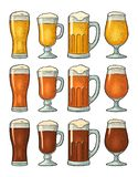 Four different glasses with three types beer. Vintage color engraving stock illustration