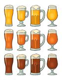 Four different glasses with three types beer. Vintage color engraving royalty free illustration