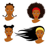 Four Different Hair Styles. Vector Illustration Of Four Different Hair Styles For Young Girls Royalty Free Stock Photo