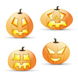 Four different halloween pumpkins Royalty Free Stock Image