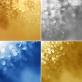 Four different holiday backgrounds. (high.res.) Lights backgroun Stock Photos