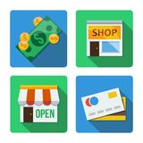 Four different icons in a flat style Stock Images