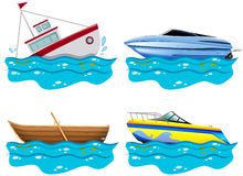 Four different kind of boats Royalty Free Stock Photos