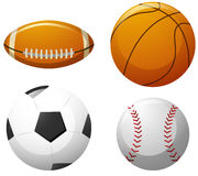 Four different kinds of balls stock illustration