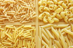 Four different kinds of italian pasta Royalty Free Stock Photos