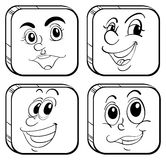 Four different kinds of square faces. Illustration of the four different kinds of square faces on a white background Royalty Free Stock Photography