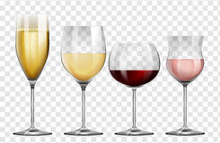 Four different kinds of wine glasses. Illustration Royalty Free Stock Photo