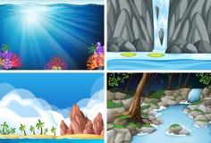 Four different nature scenes. Illustration vector illustration