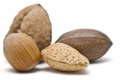 Four different nuts. Royalty Free Stock Photo