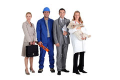 Four different occupations Royalty Free Stock Photos