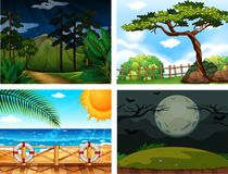 Four different outdoor nature Scenes. Illustration Royalty Free Stock Photography