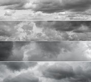Four different panoramas of cloudy sky. Royalty Free Stock Image