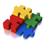 Four parts of a solution or puzzle Stock Photos