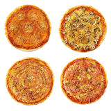 Four different pizzas Stock Photos