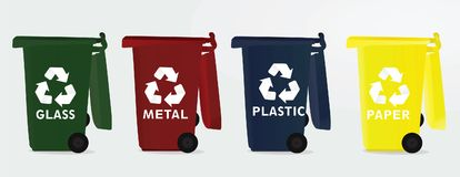 Four different recycle bins. Vector Vector Illustration