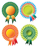 Four different rosette ribbon. Over white Royalty Free Stock Image