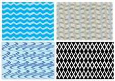 Four different samples of  wave and diamond patterns Royalty Free Stock Image