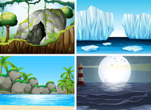Four different scenes with ocean and moutain. Illustration Stock Image