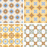 Four different seamless geometric composition Stock Photos