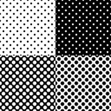 Four different seamless polka dot patterns. Vector illustration. Eps 10 Royalty Free Stock Image