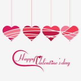 Four Different shape hanging hearts. 4 hearts with different patterns hanging with Valentine day message Stock Photography