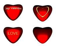 Four different style heart. Stock Photo