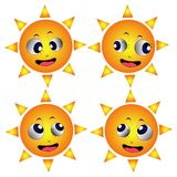 Four different suns faces Royalty Free Stock Image