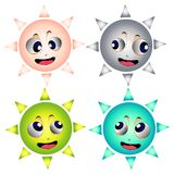 Four different suns faces Royalty Free Stock Photo