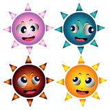 Four different suns faces Royalty Free Stock Photography