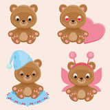 Four different teddy bears characters Royalty Free Stock Photography