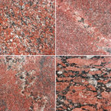 Four different texture of a red italian marble. (high.res.) Royalty Free Stock Photos
