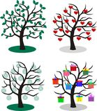 Four different trees Stock Photography