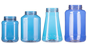 Four different type of plastic pot isolated Stock Images