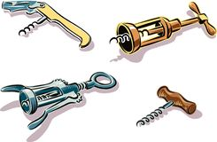 Four different types of corkscrews. royalty free illustration