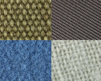 Four different types of fabric Stock Image
