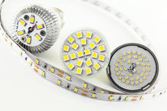 Four different types of SMD LED chips. On the bulbs and one strip Royalty Free Stock Images