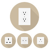 Four different types of sockets in a flat design Stock Photography
