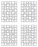 Four different white puzzles Stock Images